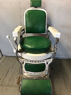 Vintage 1920 - 1930s Koken  Barber Chair Original Green Seat & Backrest.