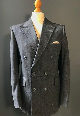 Vintage bespoke donegal tweed blue grey double breasted suit size 38 40