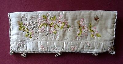 Victorian Glove or Handkerchief Case With Embroidery and Ribbon Work on Satin