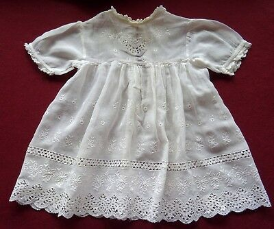 Antique Baby Christening Gown Fine Lawn Cotton With Broderie Anglaise Lace