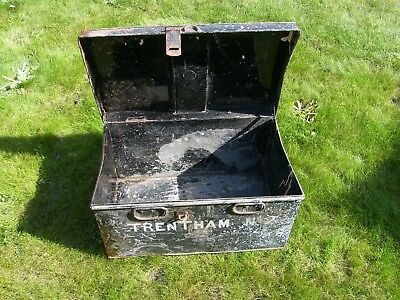 VINTAGE METAL BOX TRUNK DEED MILITARY STORAGE NAMED TRENTHAM No 2 FROM STOKE ???