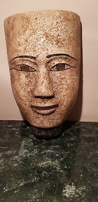 Rare Antique Ancient Egyptian Wooden Mask king Amenhotep peace 1386-1353BC