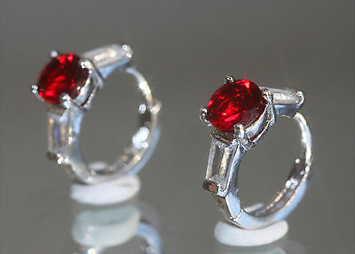 Elegant 2 x 1ct Created Brilliant Ruby & Diamond 1.3cm Hoops