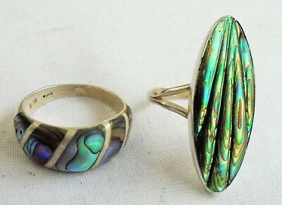 Two very good quality vintage sterling silver & abalone shell rings