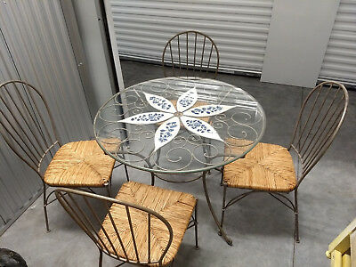 Pier One Iron Table with Ceramic Centerpiece and 4 Chairs - Tulsa, OK