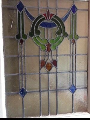 Original Vintage 1930s Leaded Stained Glass Front Door (Art Deco)