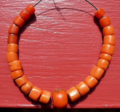 11mm Pearl Coral Antique Collier Morocco Berber Bead Necklac