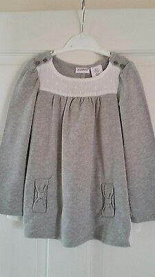 Girls smock top BNNT Savannah age 4 Grey and ivory jersey and cotton mix