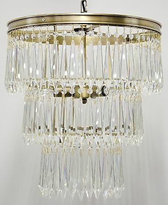 """17"""" Chandlier Clear Glass Crystals Hang from 3 Tier Metal Frame Antique Brass"""