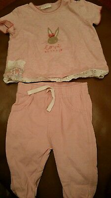 Girls Next pink t-shirt and F & F pink joggers age 3-6m