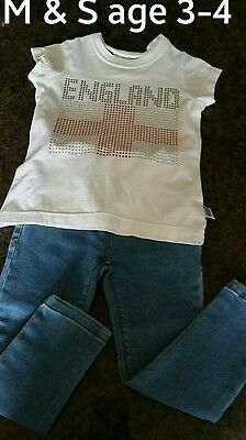 Girls outfit age 3-4 M & S sparkly England T and Young Dimension skinny jeans