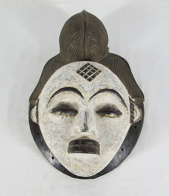 Vintage African Punu Tribe Hand Carved & Painted Wood Human Face Mask Gabon yqz