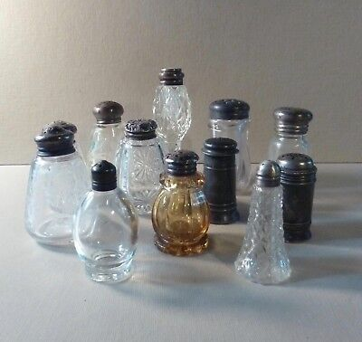 Lot Collection Assortment Glass Sterling Silver Lid Salt Pepper Shakers NO PAIRS