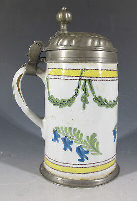 Antique Late 18th C Soft Paste Tin Glazed Faience Hand Painted Tankard Mug  yqz