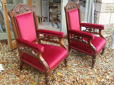 Antique Victorian Pair Carver Arm Chairs Upholstered Seats & Backs Red Velvet