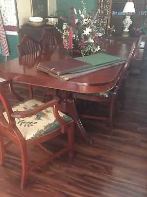 "Duncan Phyfe dining rm table, cherry wood finish 78 3/4"" L,44"" W, 30"" H w/ cover"