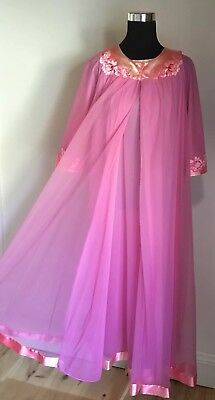 Vintage 60's Hot Pink Chiffon Peignoir Set Robe Nightgown 4 Layers!! Size MED