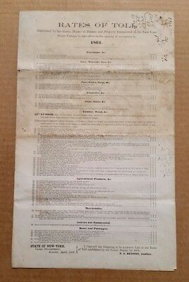 """Rates of Toll"" New York State Canal Board,VINTAGE Document,April 1861"