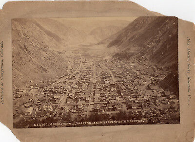 1880's EARLY GEORGETOWN COLORADO BIRDS EYE TOWN VIEW CABINET PHOTOGRAPH