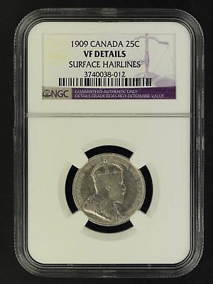 1909 Canada Silver Quarter NGC VF Details Surface Hairlines -162036