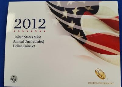 2012-United States Mint Annual Uncirculated Dollar Coin Set 7 coins  coa/boxes