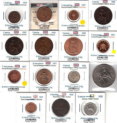 Lot of 15 World Coins 1830-1977 / Some Proof Like & UNC (No Tax)
