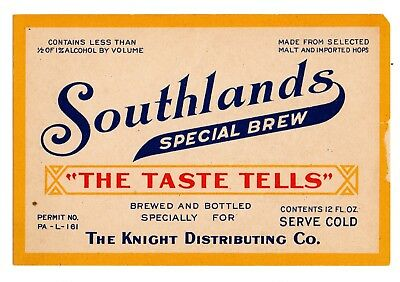 1920s D. G. YUENGLING - KNIGHT DIST CO, POTTSVILLE L - PERMIT SOUTHLANDS LABEL