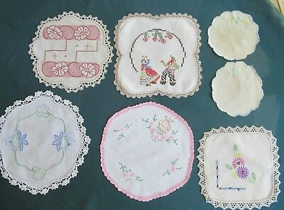 Lot 7 hand-embroidered vintage doilies SPANISH DANCERS, FLOWERS crocheted edges