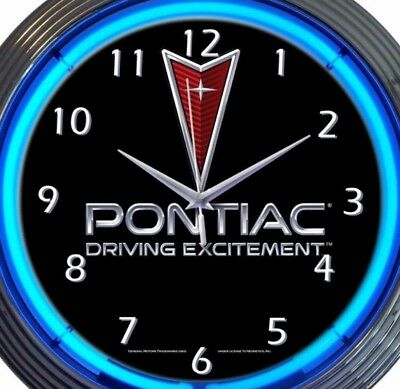 Pontiac Driving Excitement Car Auto Neon Clock 15 Inch Office Game Room Garage