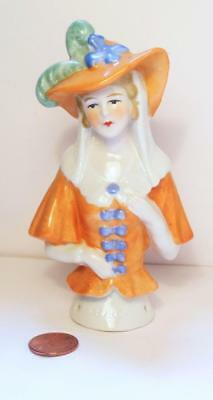 """Antique Half Doll With Elaborate Hat ~ Marked Foreign/16484 ~ 4 3/4"""""""