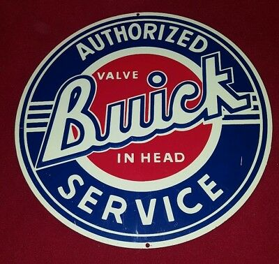 "Buick Authorized Service - Round Metal Sign - 12"" - Repro"