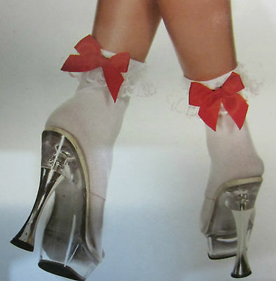 White Opaque Lace Top Ankle Socks with Red Bow - Burlesque Gothic Goth Lolita