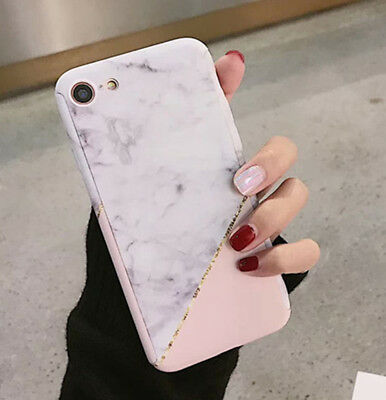 360°Full Body Protective Marble Print Hard Case+Tempered Glass Cover For iPhone