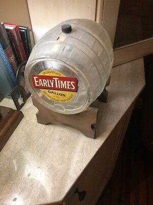 Early Times Vintage Glass Barrel With Stand