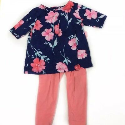 Carters Girls Outfit Size 12 Months Floral 3/4 Sleeve Shirt Pink / Navy