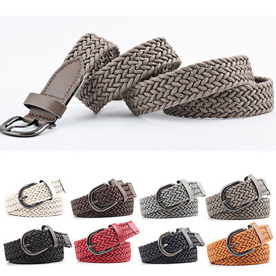 Elastic Woven Canvas Stretch Braided  Buckle Belt Waistband Women Waist Strap U