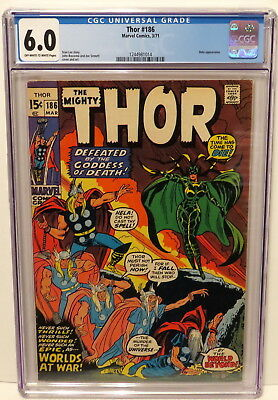 Mighty Thor #186 Marvel Comic - Hela Appearance 3/71 Off-White To White Cgc 6.0