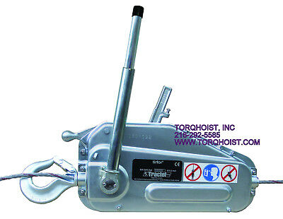 Tractel Griphoist Tirfor TU-17 With 100 Foot Wire Rope Hoist NEW TU17 Winch