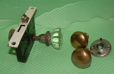Vintage Antique Doorknob Parts Misc Lot Brass Glass Door Knobs Hardware