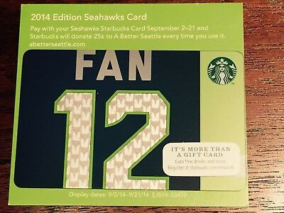 Starbucks Card 2014 SEATTLE SEAHAWKS 12th FAN Ltd Edition NEW Unused MINT