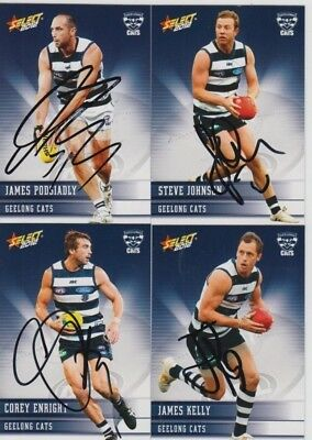 ✺Signed✺ 4x 2012 Geelong Cats AFL Cards