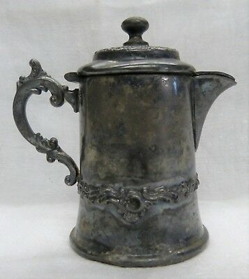 Antique New England Silver Plate Co. #216 small creamer pot with hinged lid