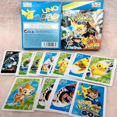 Cartoon Pikachu UNO Game Playing Cards for Family Friend Travel Instruction Toy