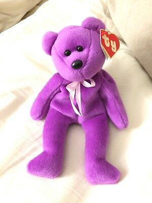 TY New Face Beanie Babies Teddy Pink