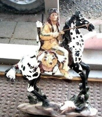 """12 1/2"""" Tall Native American Brave With Bear Head Dress On Spotted Horse Perfect"""