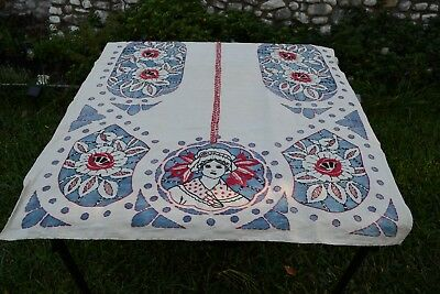 Art Deco/Nouveau Heavily Embroidered Appliqued Table Cloth; Very Old; Hand Done