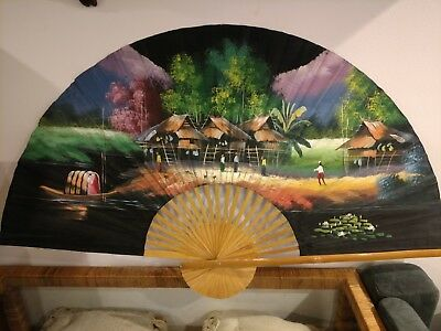 Vintage Lrg Asian Oriental Hand Painted Wall Fan Bamboo Chinese Japanese Village