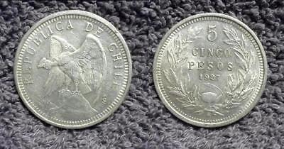 1927-So Chile 5 Peso KM#173.1 .900 Silver ASW .7234 - Uncirculated