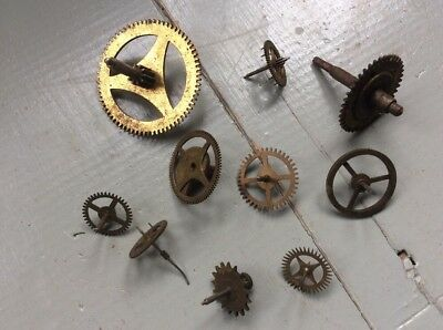10x Vintage Mixed Brass Clock Watch Parts COGS Repairs Art Craft Steampunk