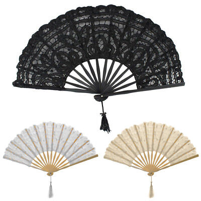 Handmade Cotton Lace Folding Hand Fan for Party Bridal Wedding Decoration AU New